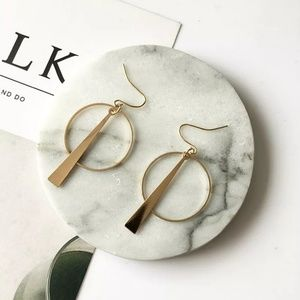 Dainty Gold Triangle Circle Earrings